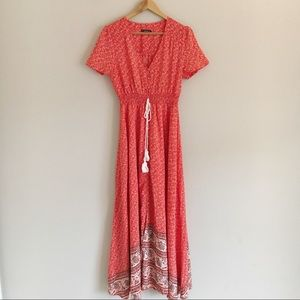 Jeuvre Dresses - Jeuvre Red & White Floral Button Front Maxi Dress